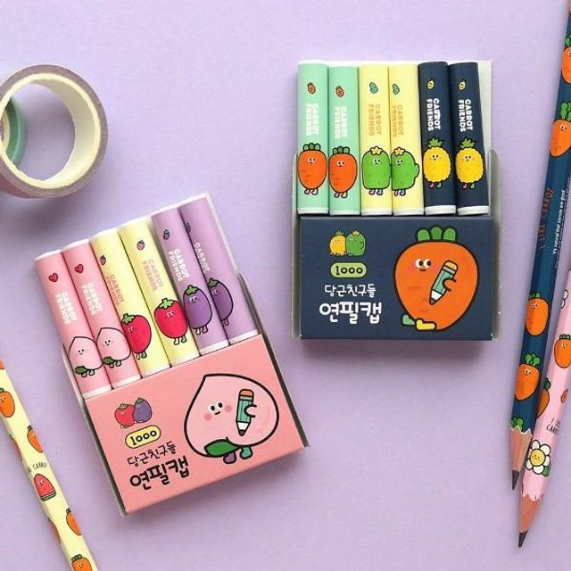1000 핑크풋 당근 패턴 연필캡 연필뚜껑 연필심보호