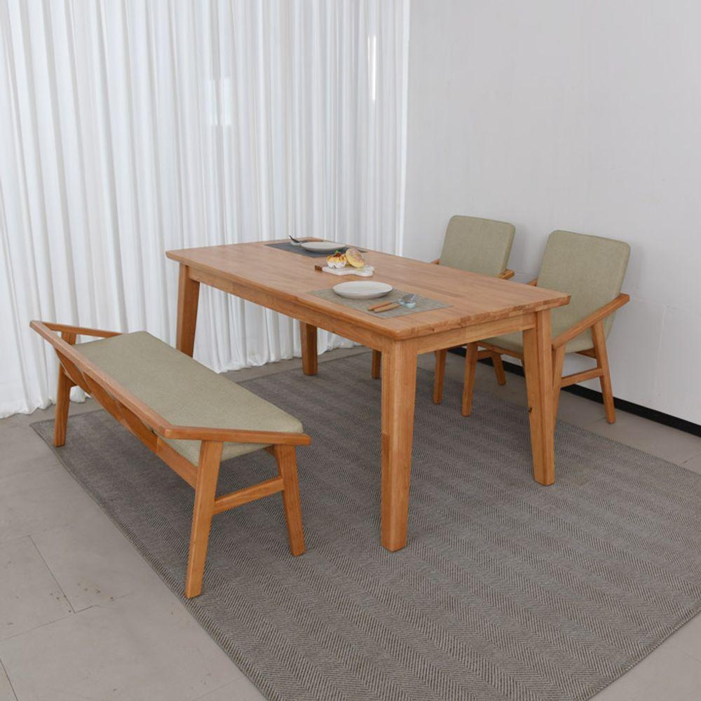 엘린느 4인 원목 식탁 세트(등벤치형)