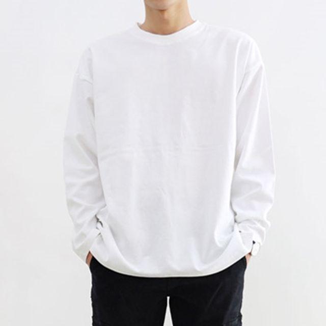 남자 빅사이즈 오버핏 긴팔 라운드 티셔츠 국내생산