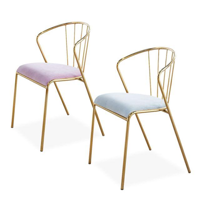 골드프레임 24k 벨벳소재 등받이 의자 스툴