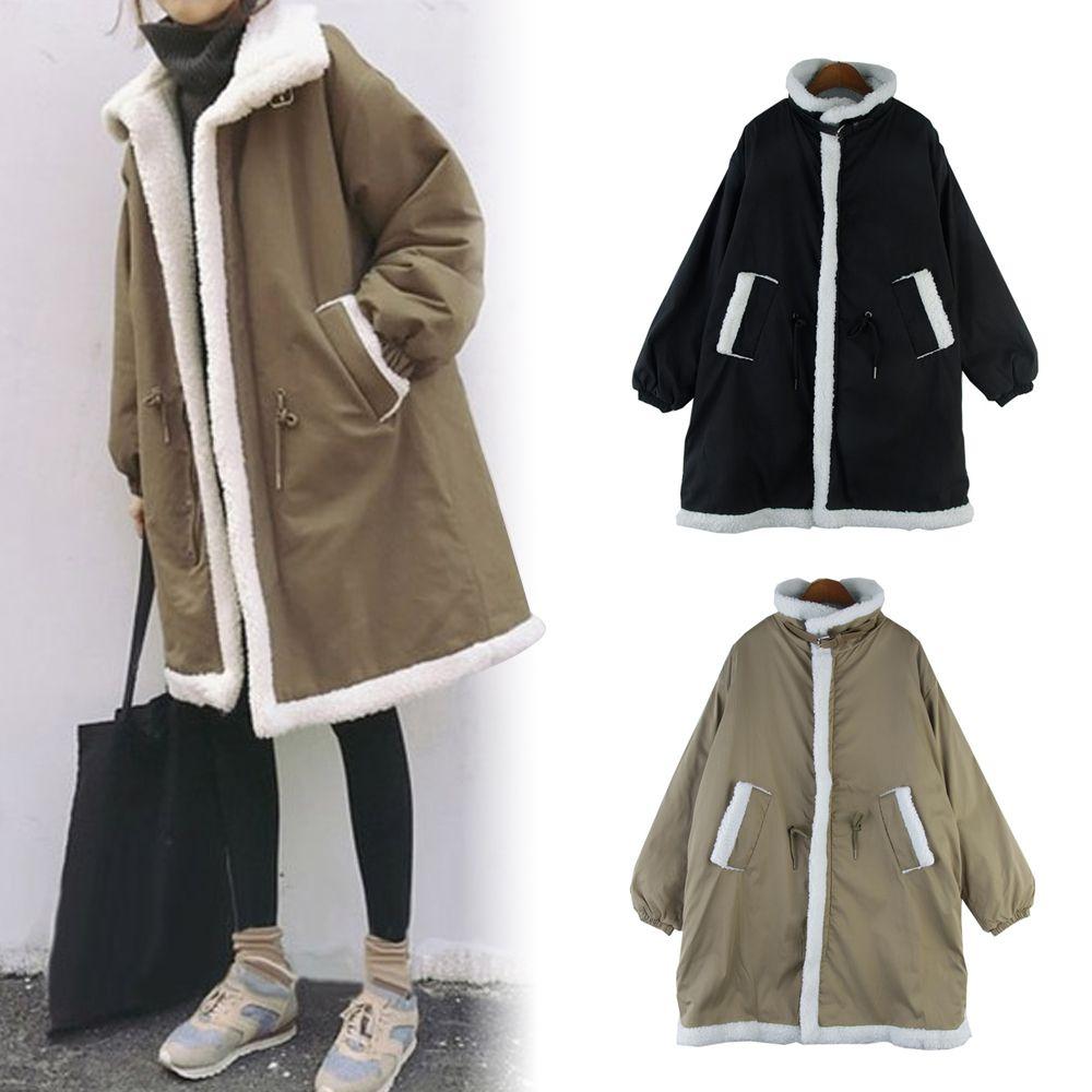 올가 양털 포인트 겨울 여성 패션 하프코트