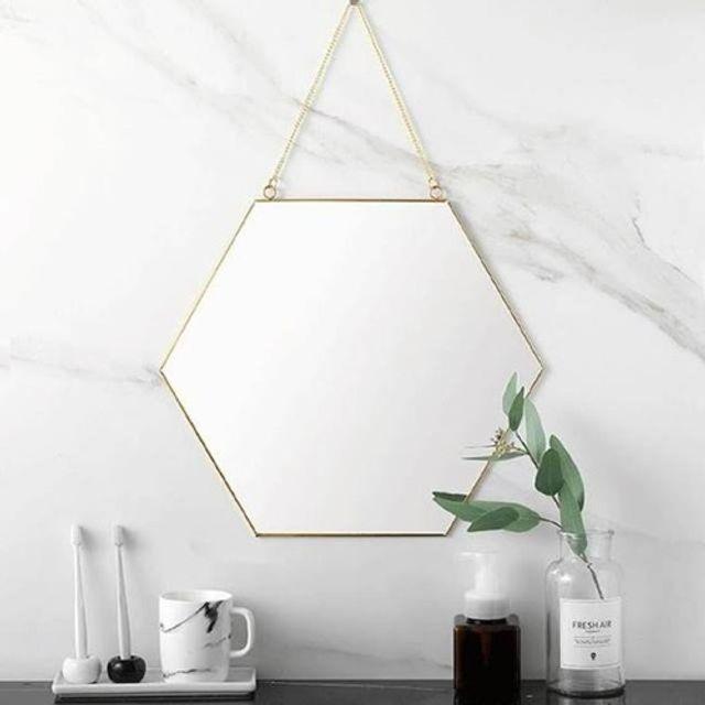 육각 스트랩 거울 욕실 화장대 벽걸이 미러 드레스룸