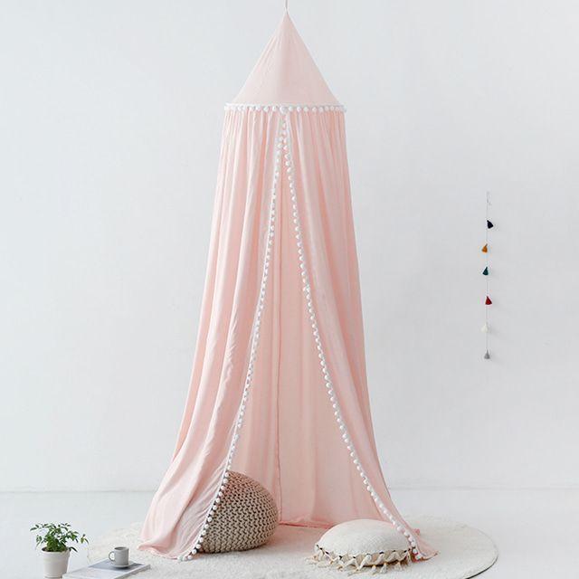 마켓비 INSIA 유아침대장식 침대캐노피 폼폼형 핑크