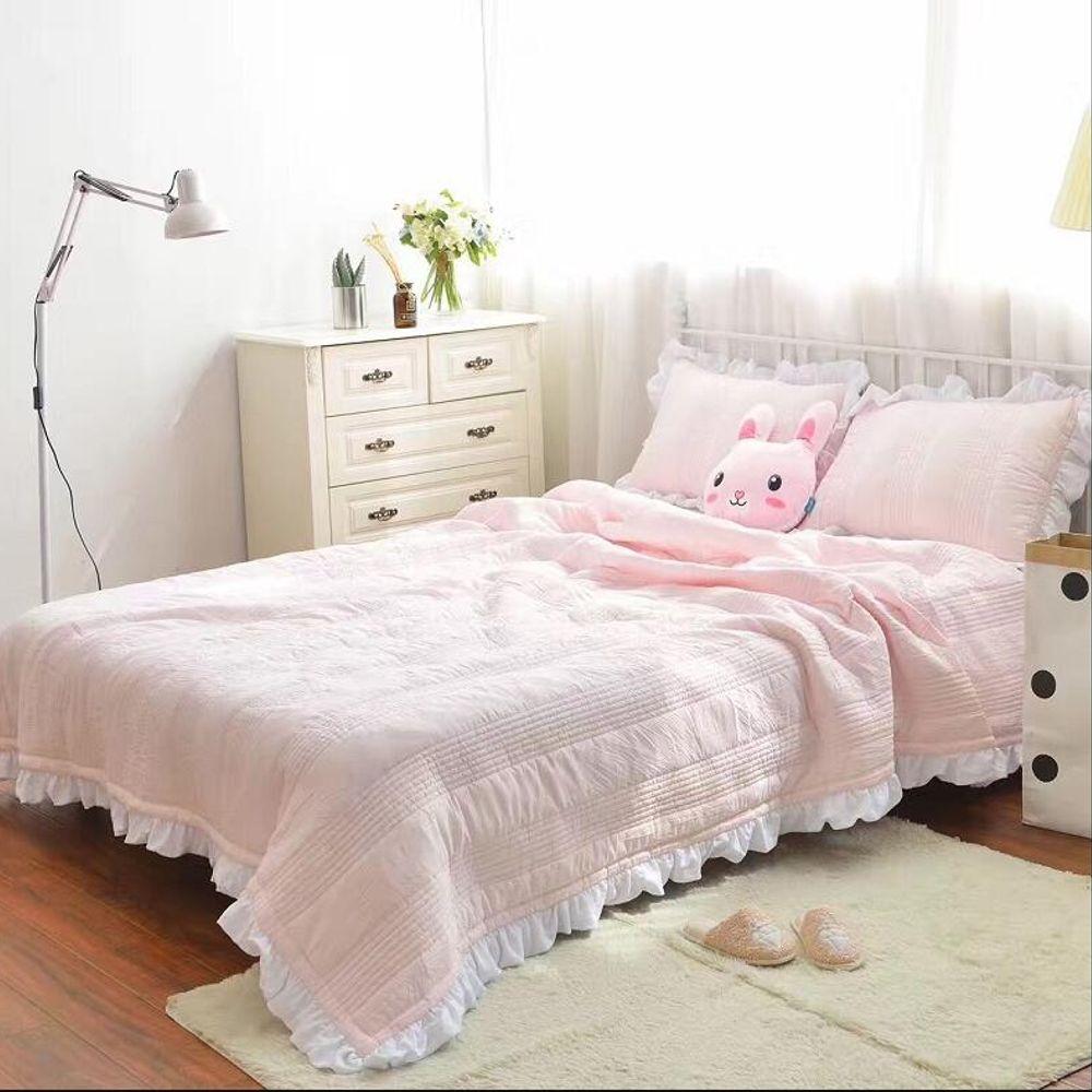 가정용 다용도 더블 프릴 3종 세트 여름 누빔 침대 커버