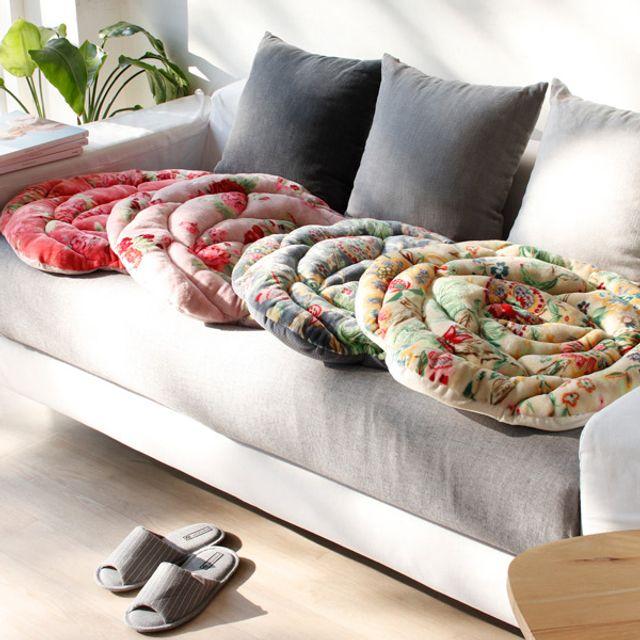 북유럽 장미 디자인 겨울 의자 원형 극세사 방석