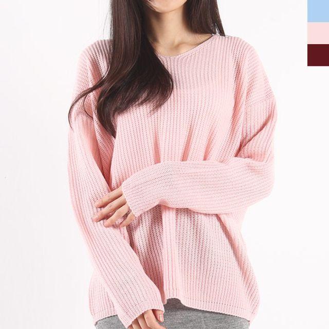 여자 기본 브이넥 니트티 가을 겨울 스웨터 티셔츠