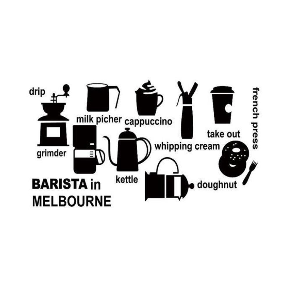 바리스타 커피 그래픽 투명 포인트 시트지
