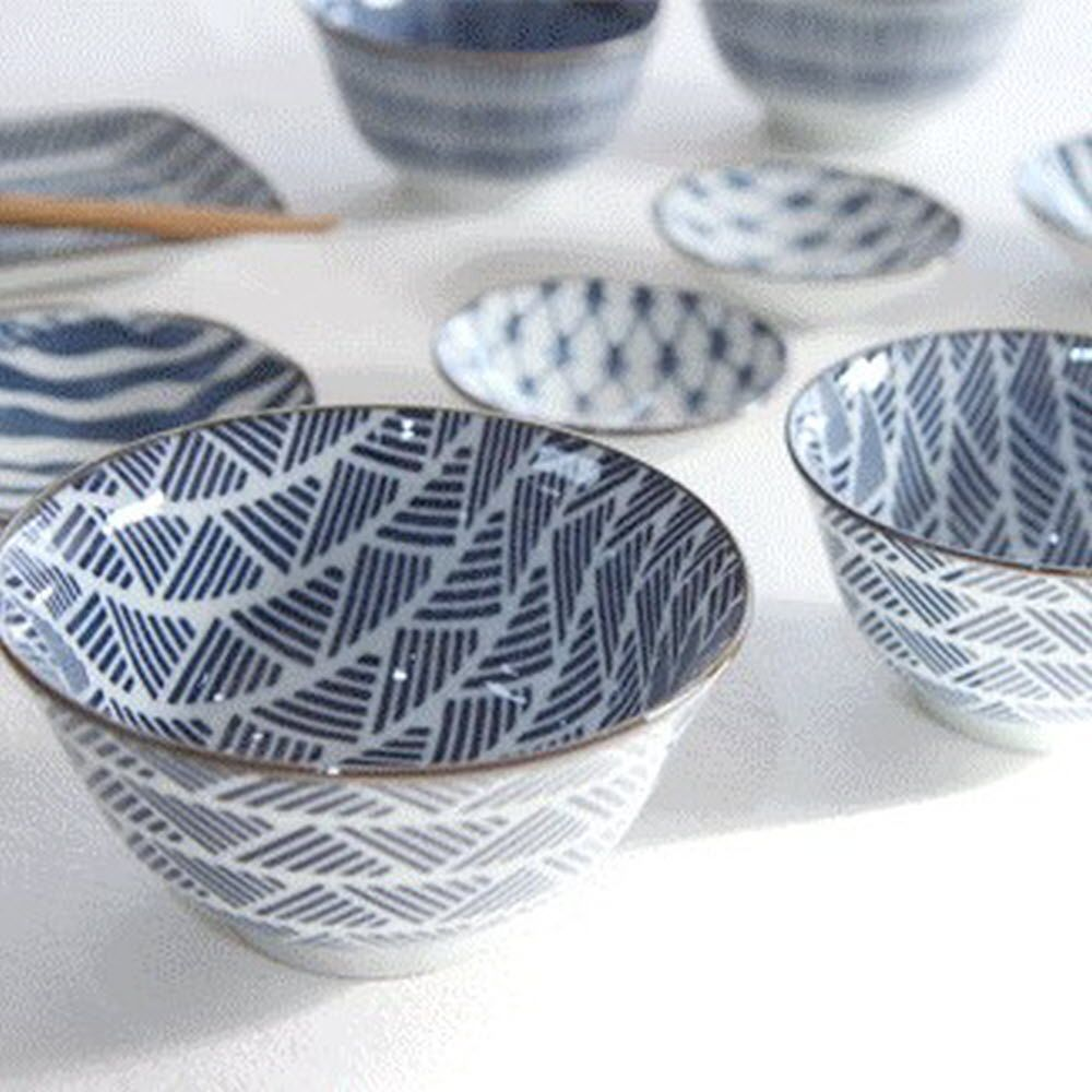 일본 스타일 감성 디자인 고급 블루 패턴 식기 세트