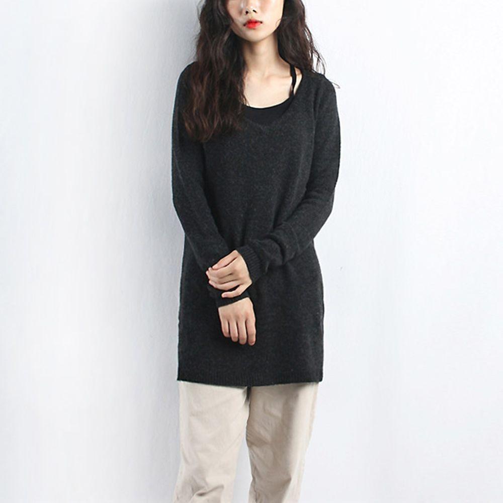 여성 브이넥 긴기장 롱니트 티셔츠 캐주얼 데이트패션