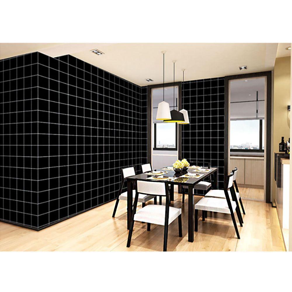 격자무늬 셀프도배 벽 시트지 5M-블랙 붙임식벽지