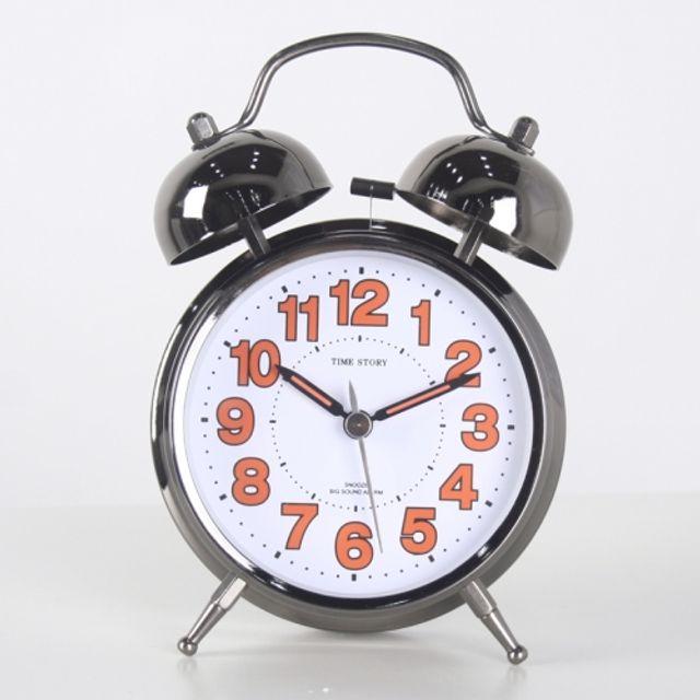 스틸 트윈벨 빅알람탁상시계(오렌지) 책상장식 자명종