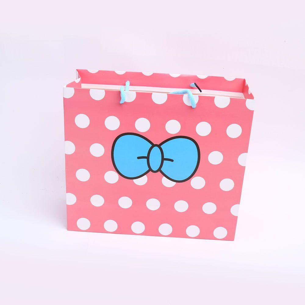 도트 리본무늬 대 손잡이 종이 쇼핑 선물 답레품 백