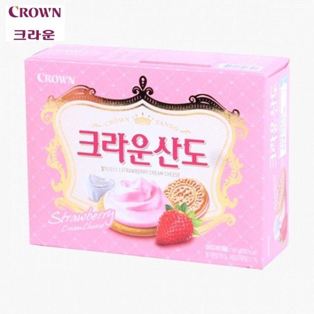 크라운산도 딸기 161g X 6곽 기획세트 부드러운딸기크림 바삭한비스켓 어린이간식