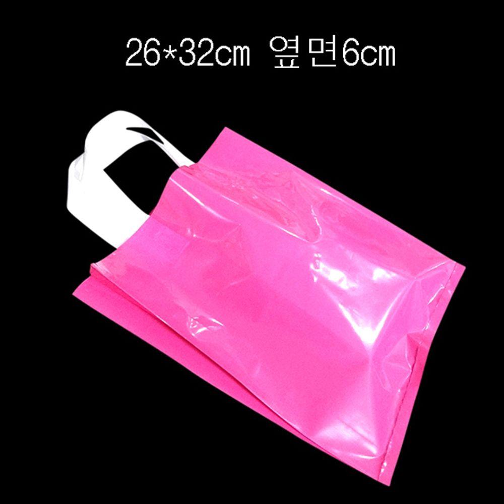 PE 손잡이 팬시봉투 -진핑크 26X32cm 옆면6cm 25매