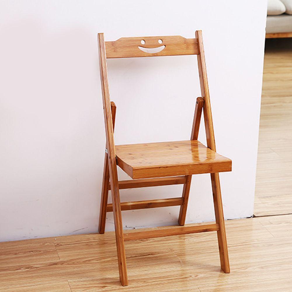 스마일 대나무 소형 등받이의자 접이식 나무의자