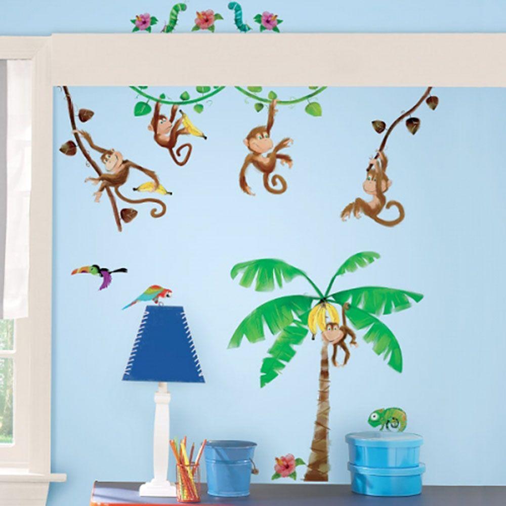 어린이집 아이방 DIY 데코 시트 원숭이 줄타기 공간