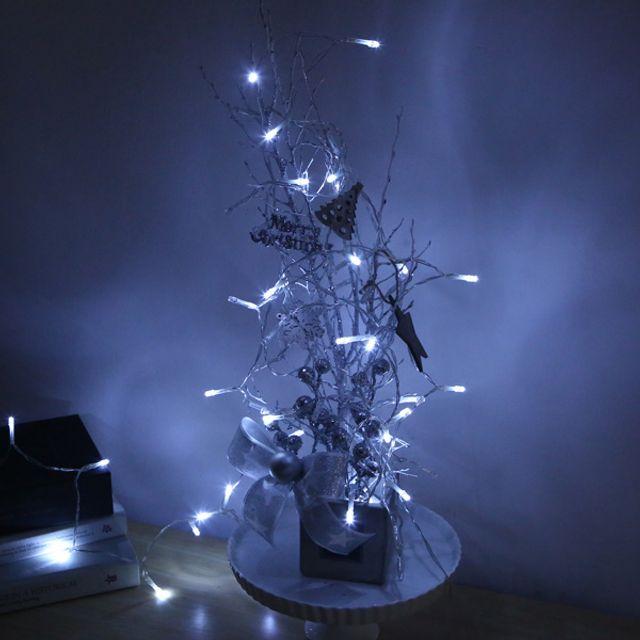 크리스마스트리 LED 50P 투명선 화이트 배터리형 크리스마스전구 건전지전구