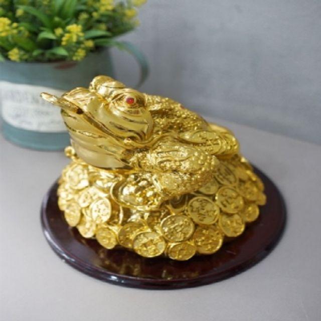 두꺼비소품 풍수 재물복 우드받침 황금 삼족두꺼비 중
