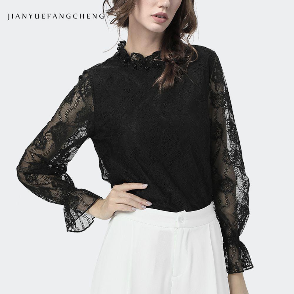 [더산직구]긴팔 가을 여성 레이스셔츠 높은칼라 퀄리티 와이셔츠/ 배송기간 영업일기준 7~15일