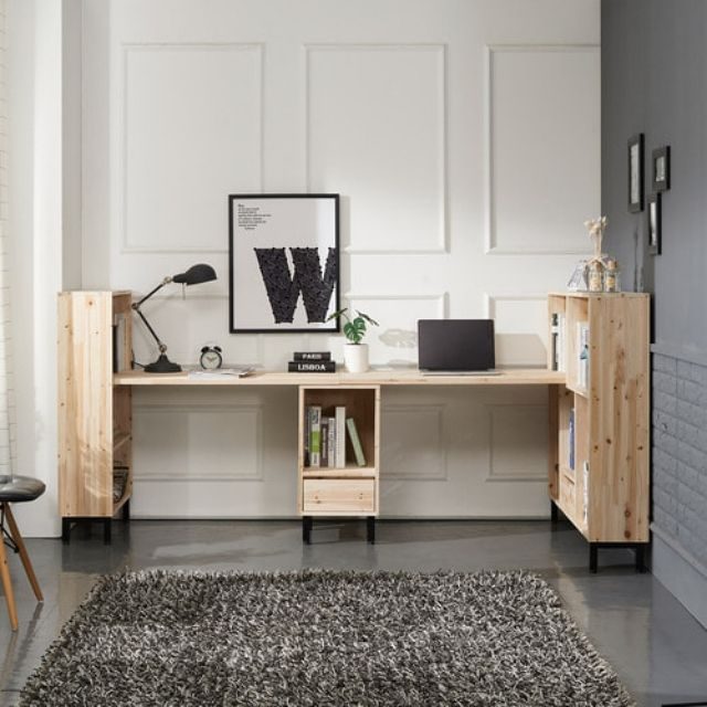 삼나무 컴퓨터 사무용 2인용 책상책장 풀세트