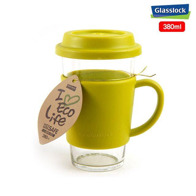 글라스락 에코 유리 텀블러 유리컵(그린)-380ml