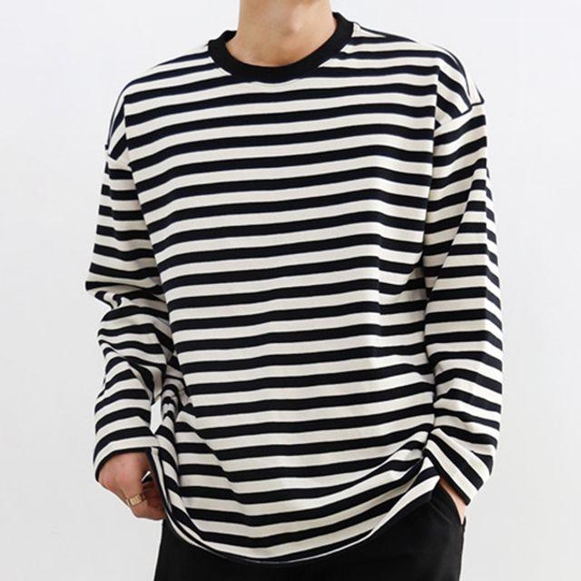 남자 빅사이즈 오버핏 단가라 긴팔 티셔츠 국내생산