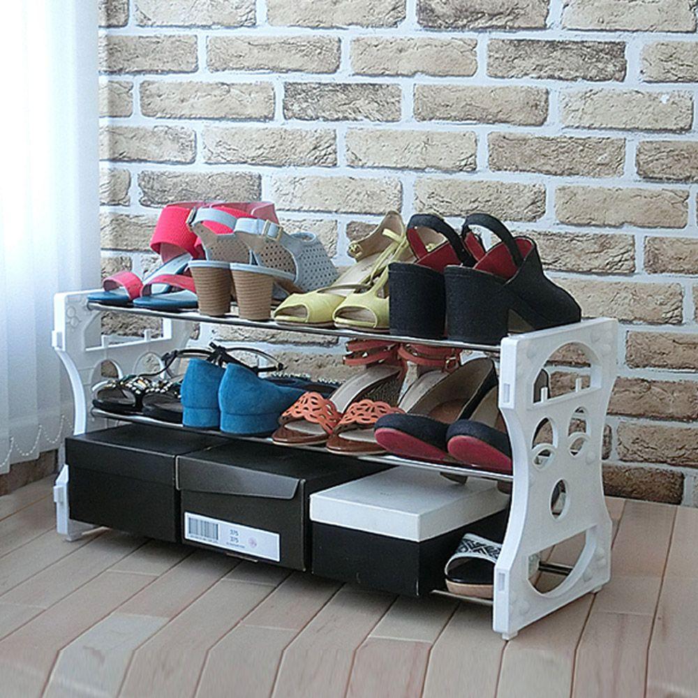 스마일오픈3단(12족)_현관 신발장 정리대 틈새 수납장