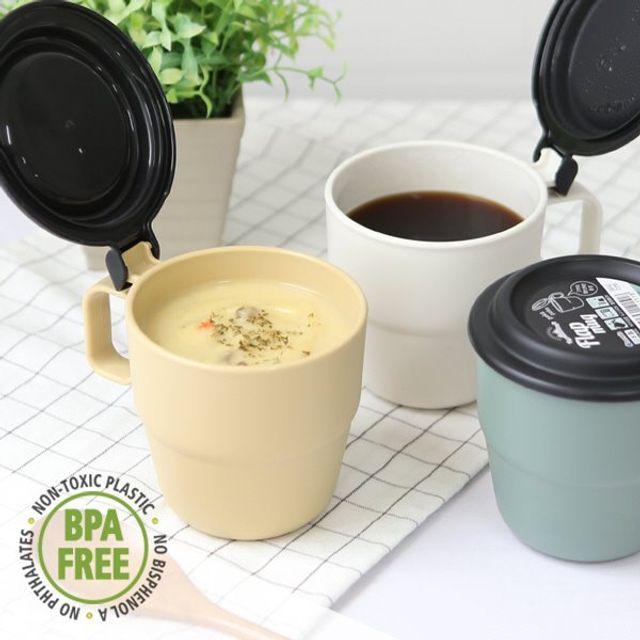 캠핑 커피 스프 원터치 플랩커버 보온보냉 휴대머그컵