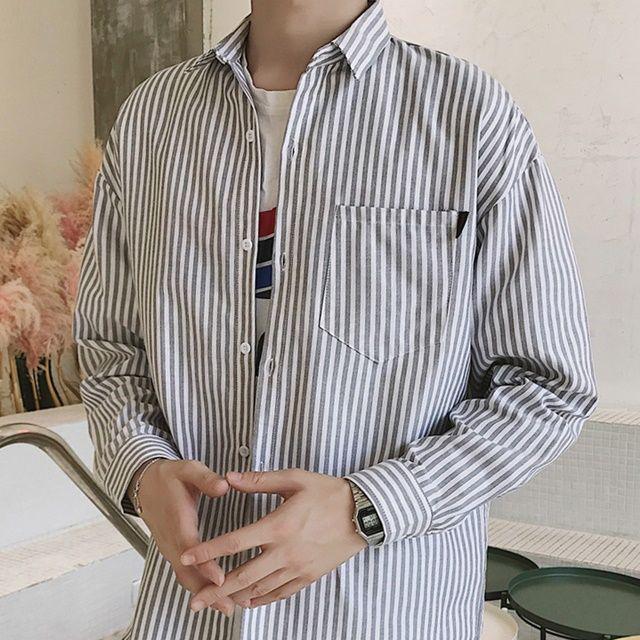 남자 커플룩 오버핏 남방 셔츠 세로 스트라이프 남친
