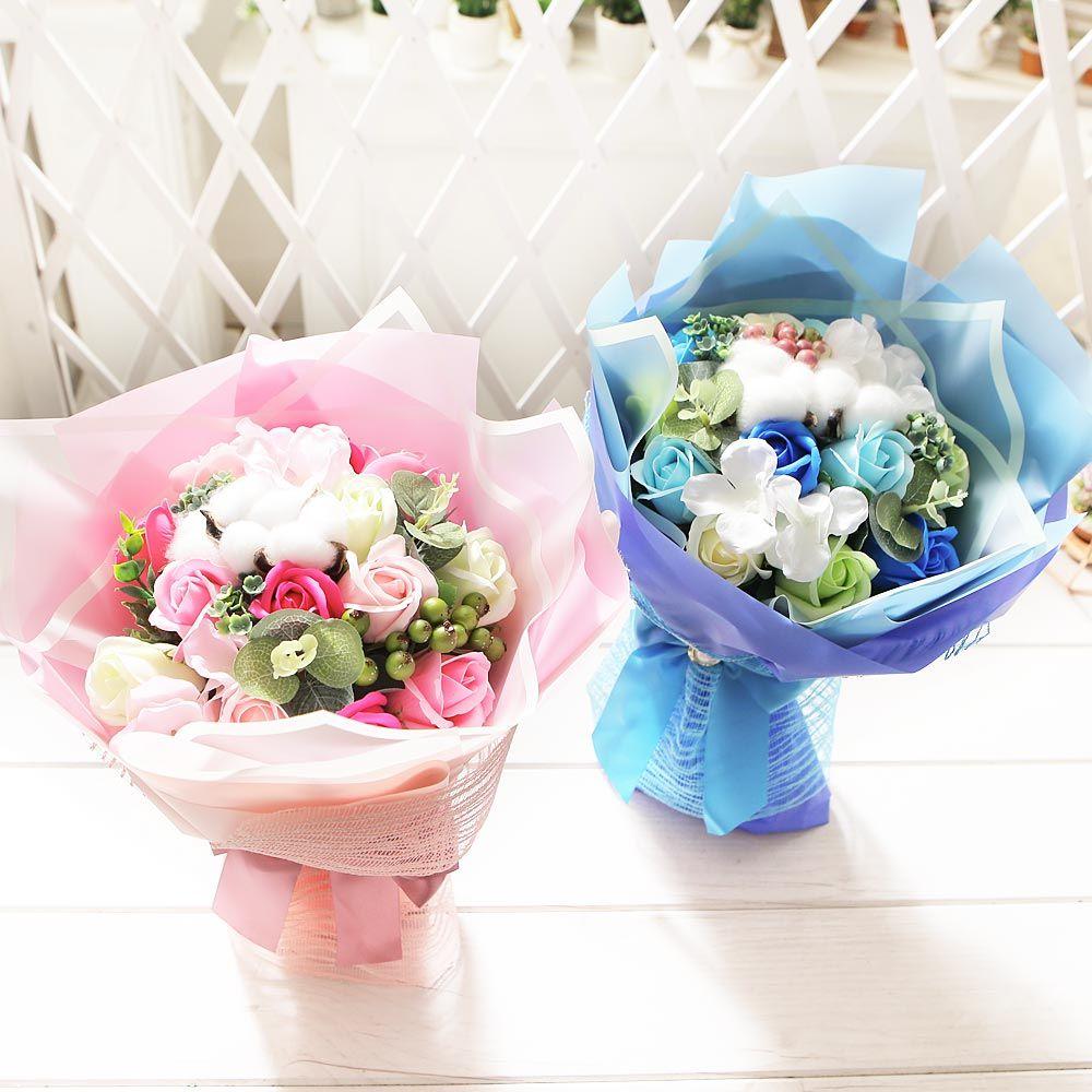 코튼 비누장미 꽃다발(블루) 비누꽃 화이트데이 선물