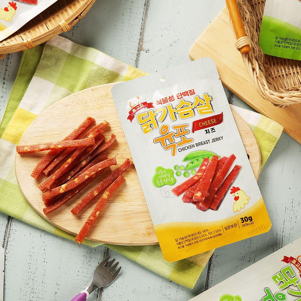 오강푸드 식물성 단백질 닭가슴살 육포 치즈 30gx10봉