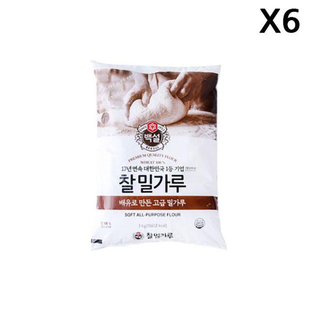 FK 찰밀가루(백설 3K)X6
