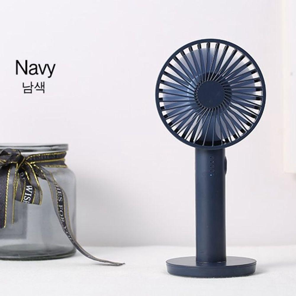 휴대용 미니 선풍기 네이비 자석거치 거울기능
