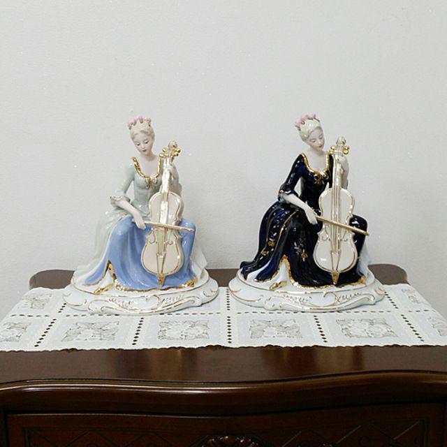 도자기 첼로 여인 여인피규어장식인테리어소품