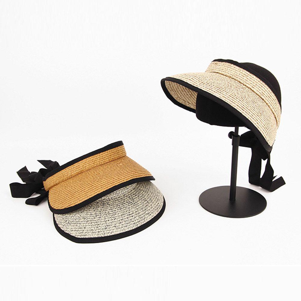 여름 밀짚 베리아 썬캡 캐주얼 패션 리본끈 여성 모자