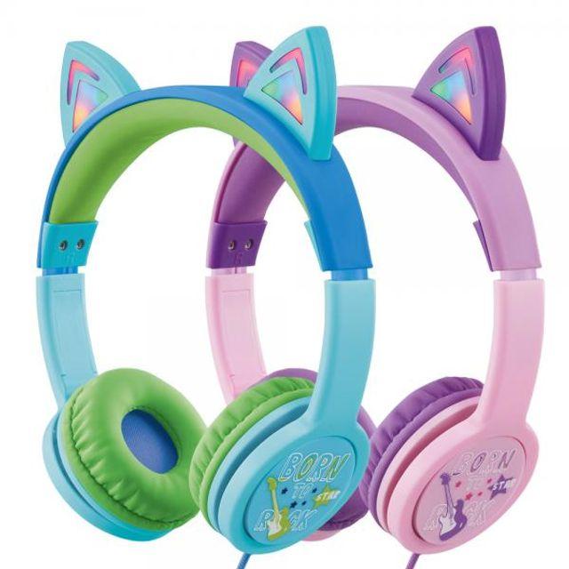 accto 캣츠 LED 조명 청력보호 어린이 헤드폰