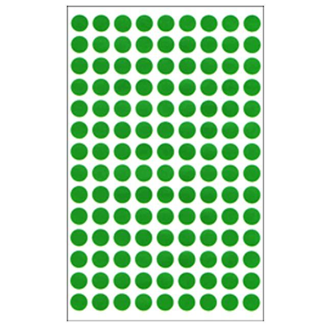 동그라미 원형스티커 분류라벨 지름8mm 7매입 녹색 304G 원모양 분류스티커