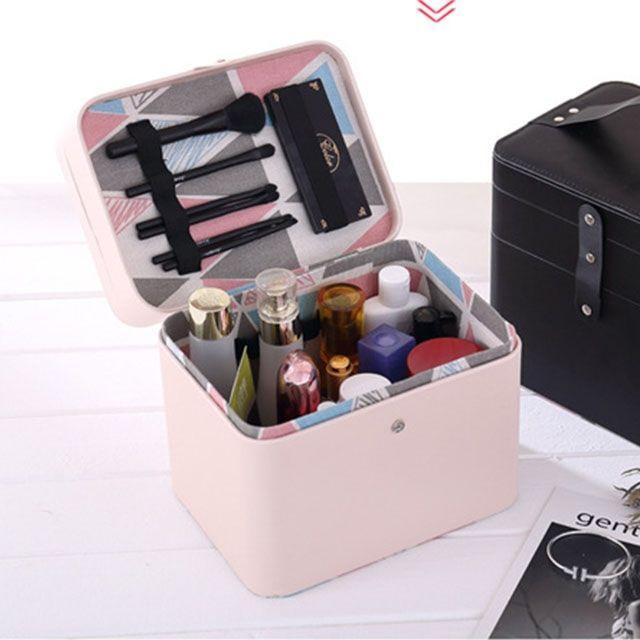 더블 레이어 휴대용 화장품 보관함 케이스-블랙OC
