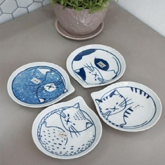 개인접시 반찬 앞접시 물방울 고양이 접시 4type