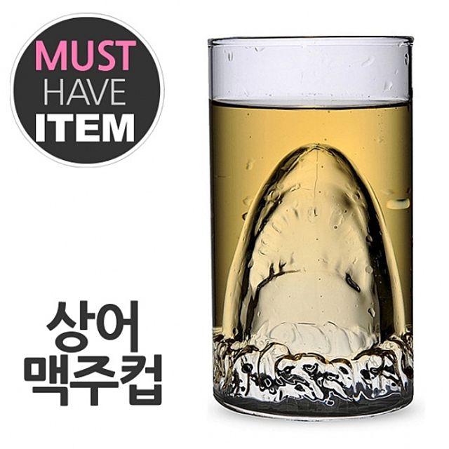 [ 상어 맥주컵 유리잔 이중유리컵 죠스컵 ] 상어컵 이중유리잔 아이디어 파티 업소용