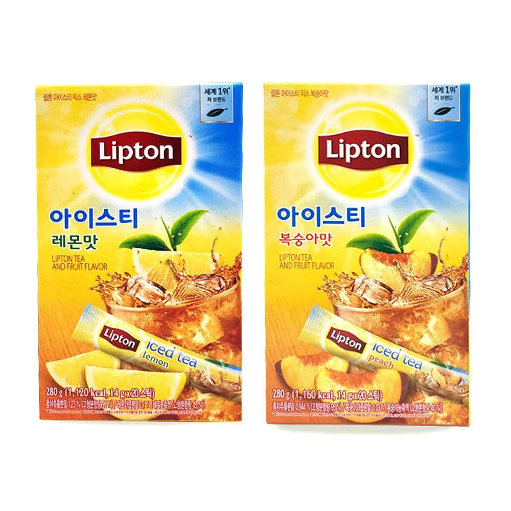 립톤 분말스틱 아이스티 20T/ 레몬맛 복숭아맛/ 음료