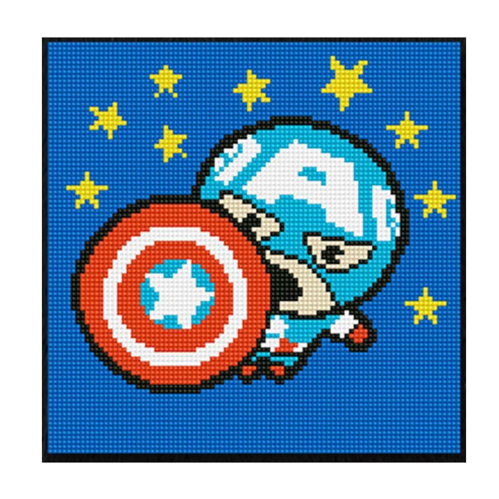 DIY 보석십자수 마블 가와이 캡틴아메리카 25X25