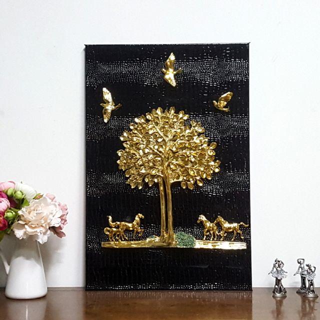 로댐 돈나무 말 블랙골드 벽걸이 그림액자