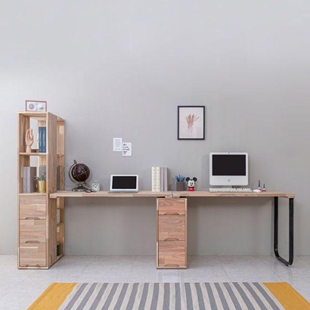 공부책상 2인용(2300) 서랍장 노트북 테이블 철다리