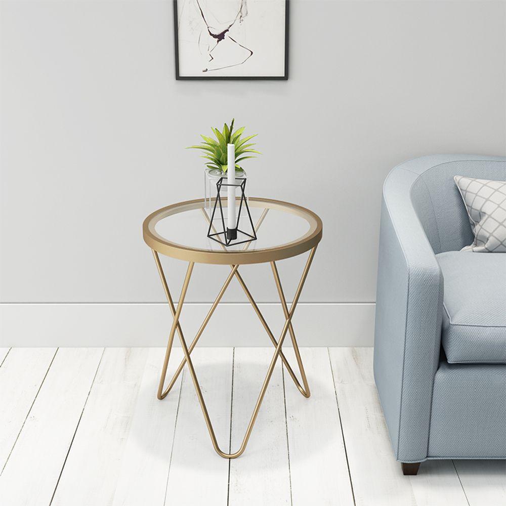 북유럽 거실 현대 유리단철 커피 테이블 원형 테이블