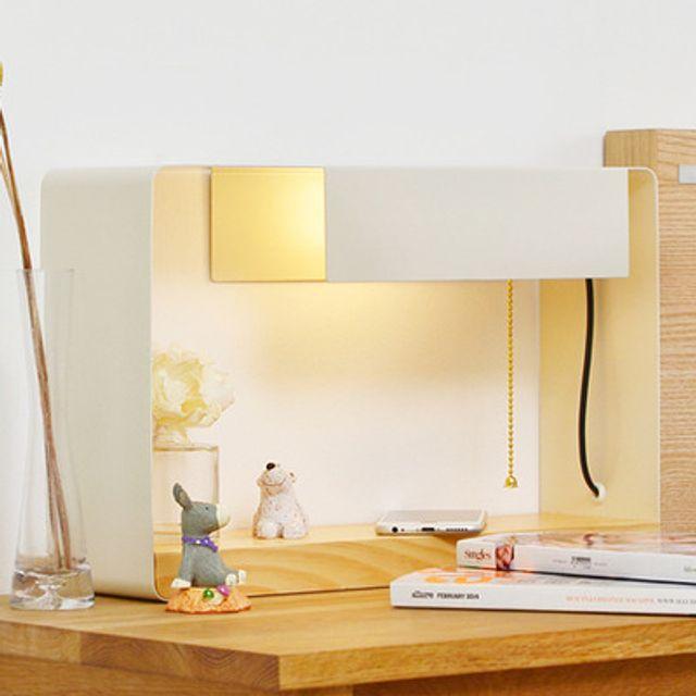 LED조명 우드 단스탠드 아이보리 벽걸이겸용 소품선반