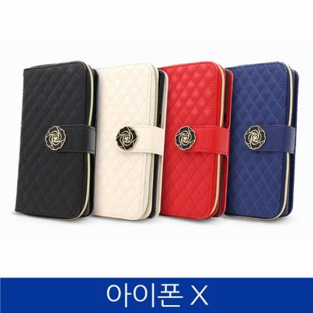아이폰X. 퀼팅 지퍼 지갑형 폰케이스 iPhoneX case