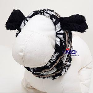 강아지 모자 비니 귀마개 목도리 넥워머 스누 드 블랙