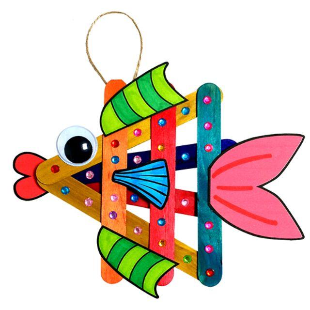 (만들기용품)나무스틱 물고기만들기 6개묶음