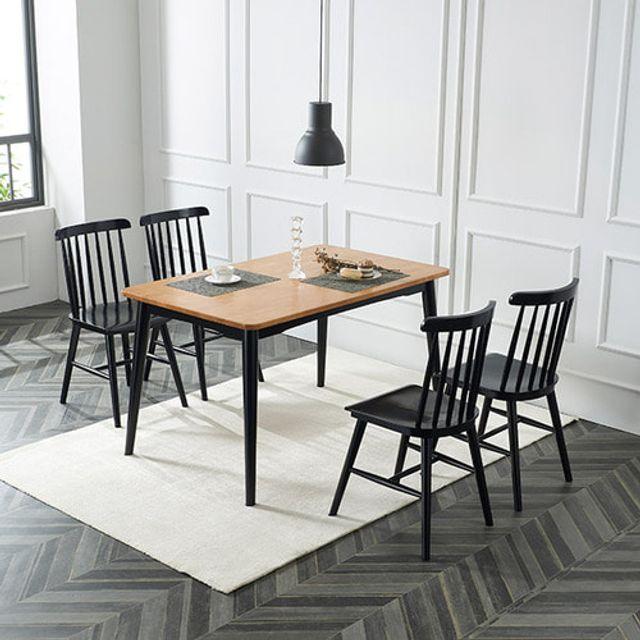 4인용 식탁세트 일반형 원목의자 사각테이블 주방가구